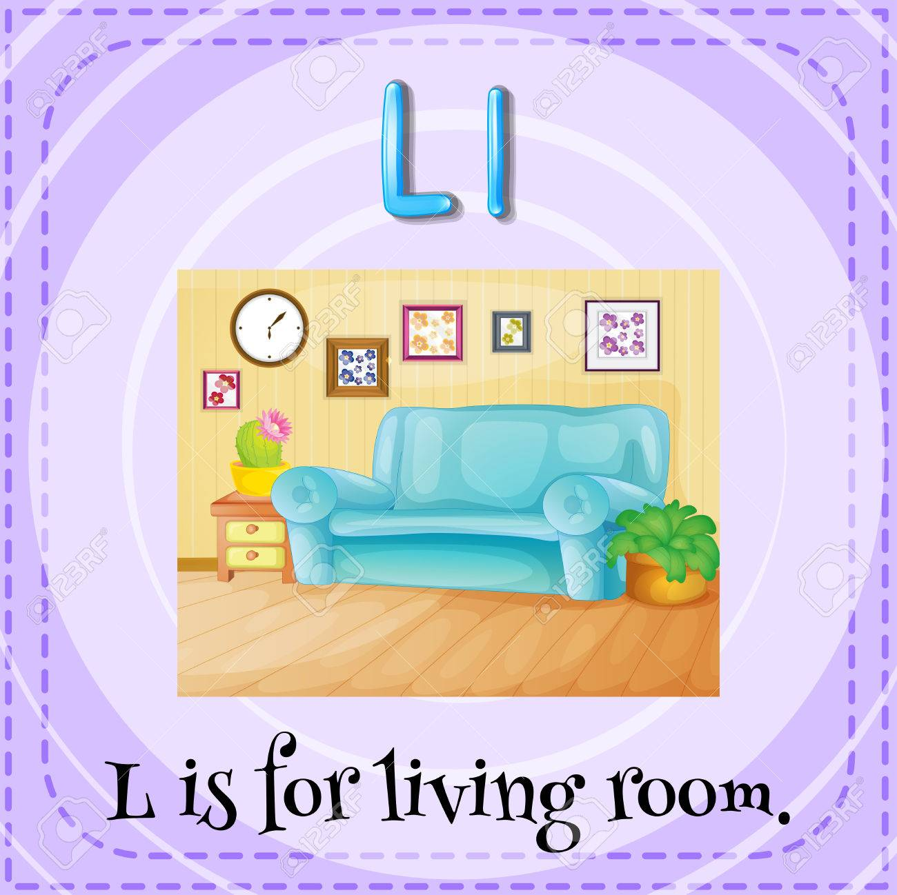 Flashcard Letter L Is For Living Room Stock Vector
