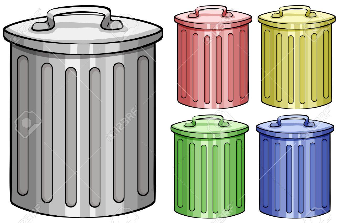 Five different color trash cans - 38107084