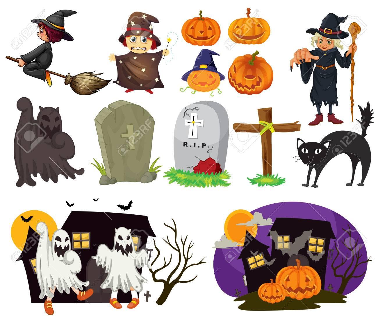 Halloween Artikelen.Verschillende Ontwerpen Van Halloween Artikelen En Scenes