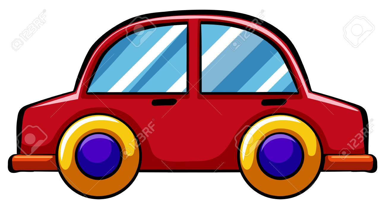 Red Toy Car With Yellow Wheels Royalty Free Cliparts Vectors And