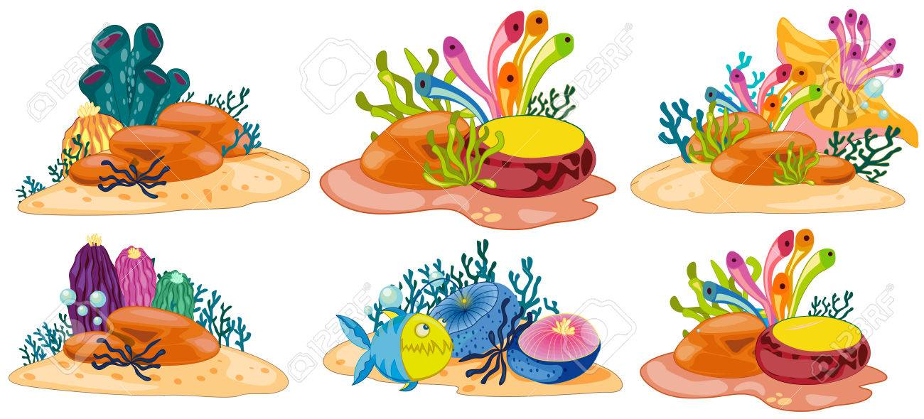 six different scene of coral reef royalty free cliparts vectors rh 123rf com coral reef clipart free coral reef animals clipart