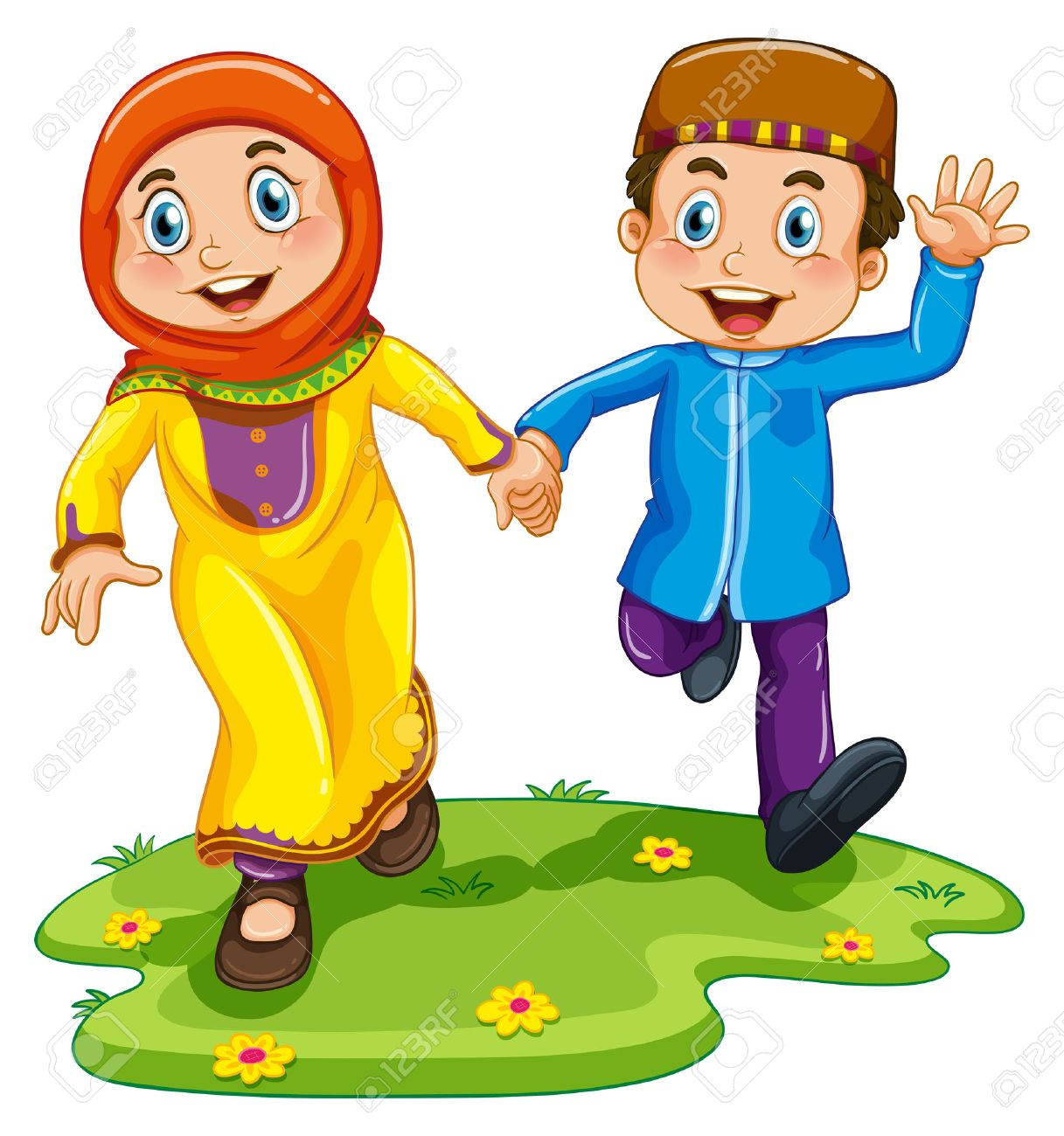 muslim boy and girl holding hands royalty free cliparts vectors rh 123rf com Sample Boy and Girl Clip Art Holding Hands Black and White Clip Art Boy and Girl Holding Hands