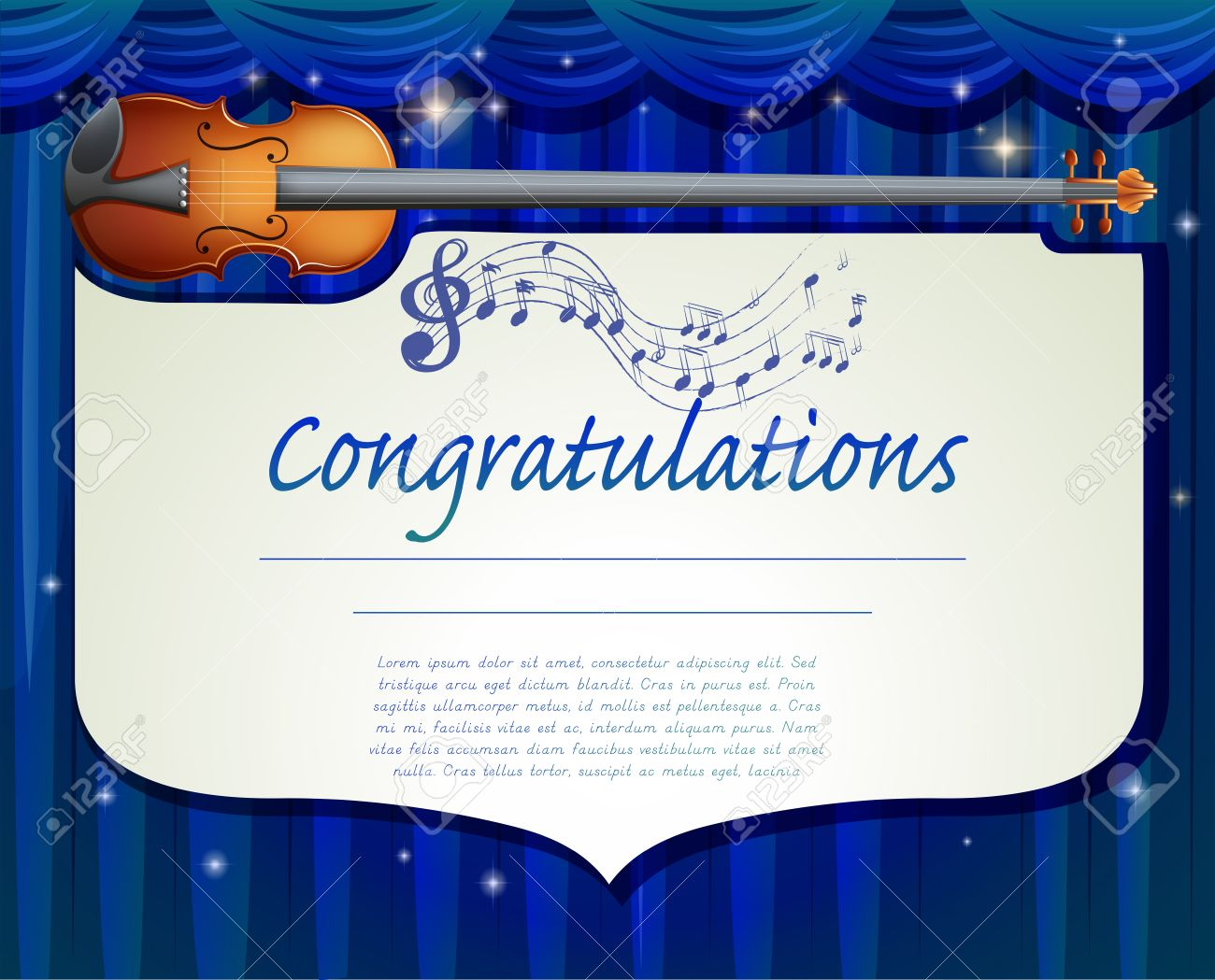 Certificate Template Design With Music Background Royalty Free