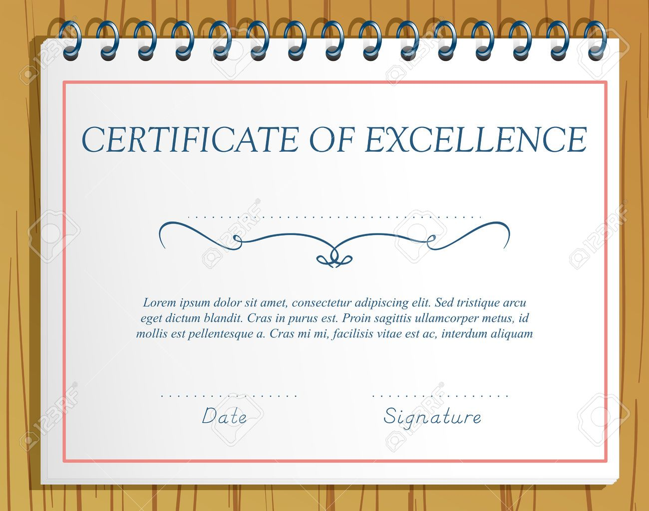 Certificate Of Excellence Template Design Stock Vector   38706986