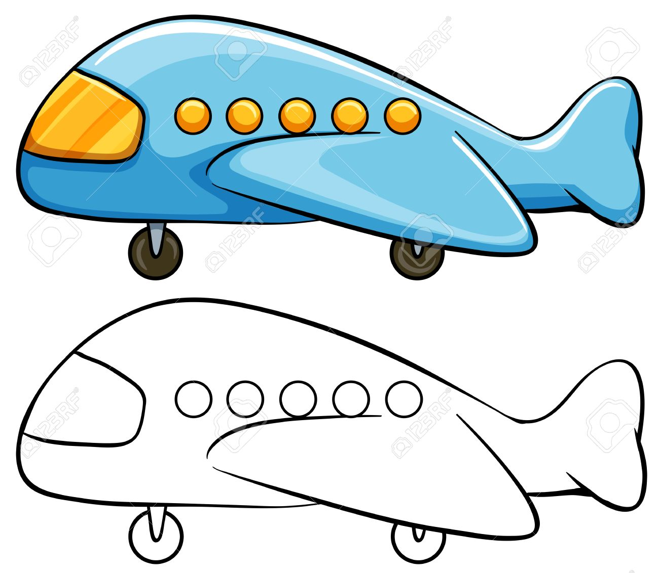 Toy Airplane With Simple Drawing Royalty Free Cliparts Vectors