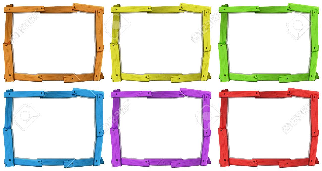 Six Different Colors Of Wooden Frames Royalty Free Cliparts, Vectors ...