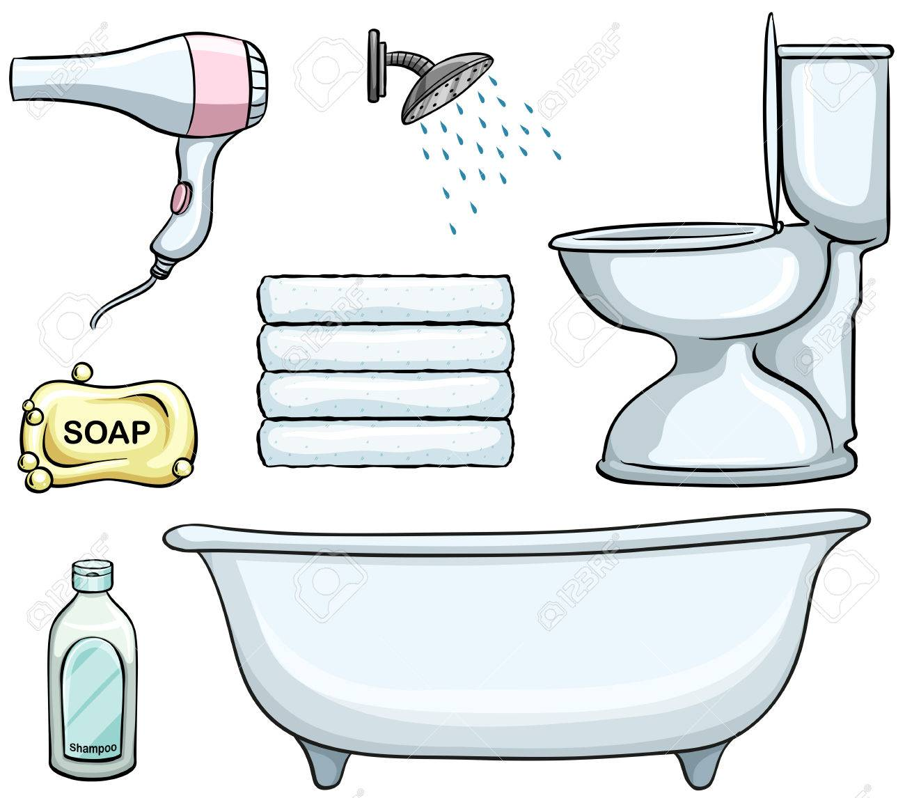 Different Types Of Bathroom Objects Royalty Free Cliparts Vectors