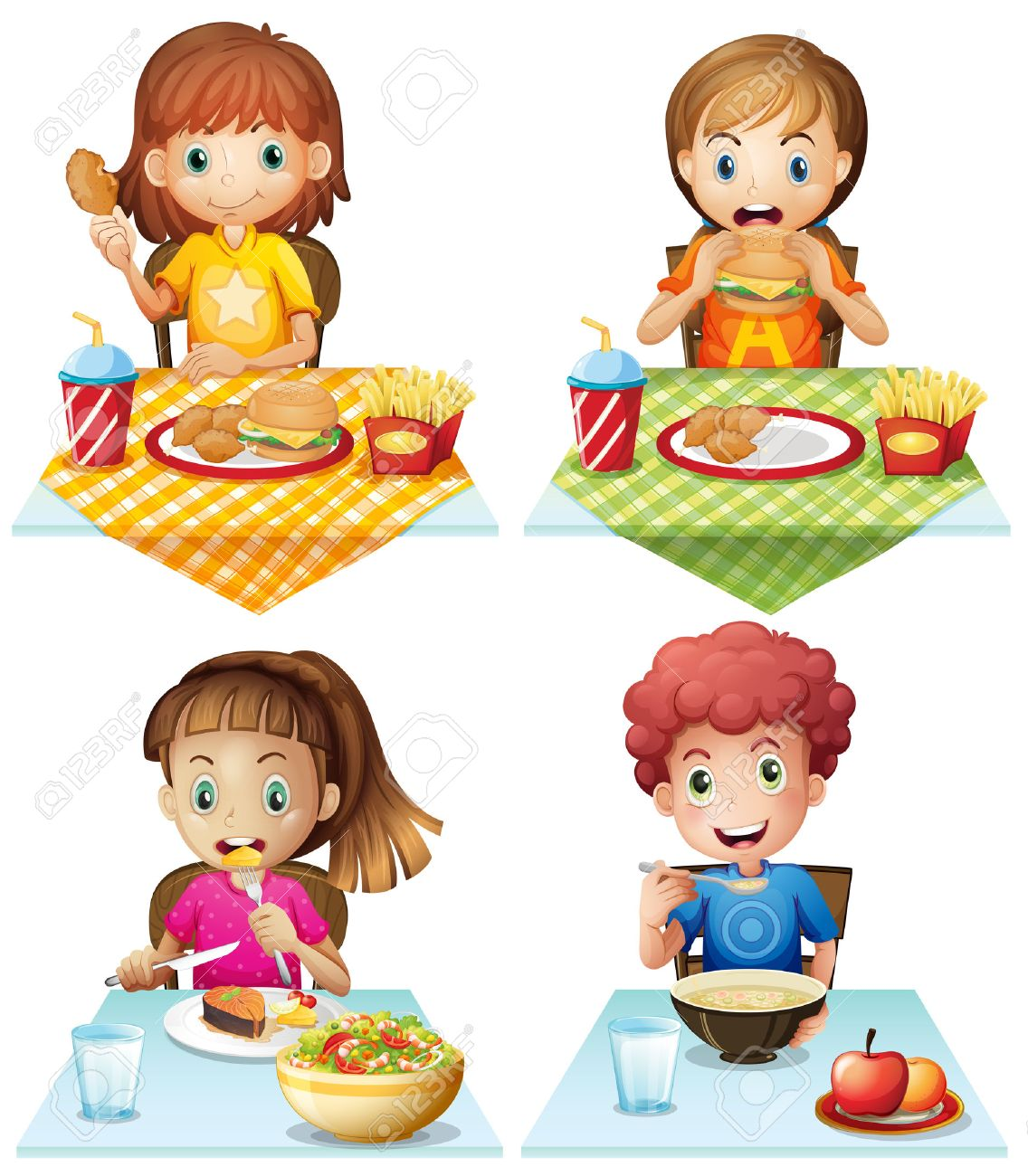 Kids Eating Junk Food Clipart