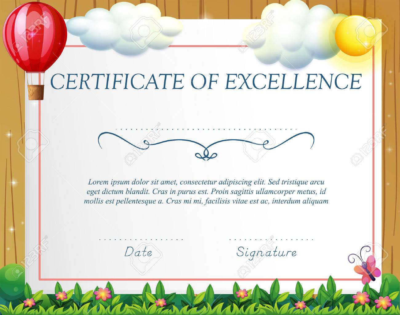 Certificate Template With Balloon Background Royalty Free Cliparts ...