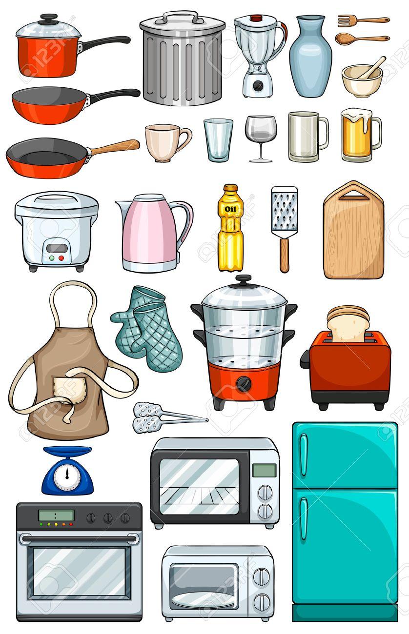 Diversi Tipi Di Oggetti Da Cucina Clipart Royalty-free, Vettori E ...