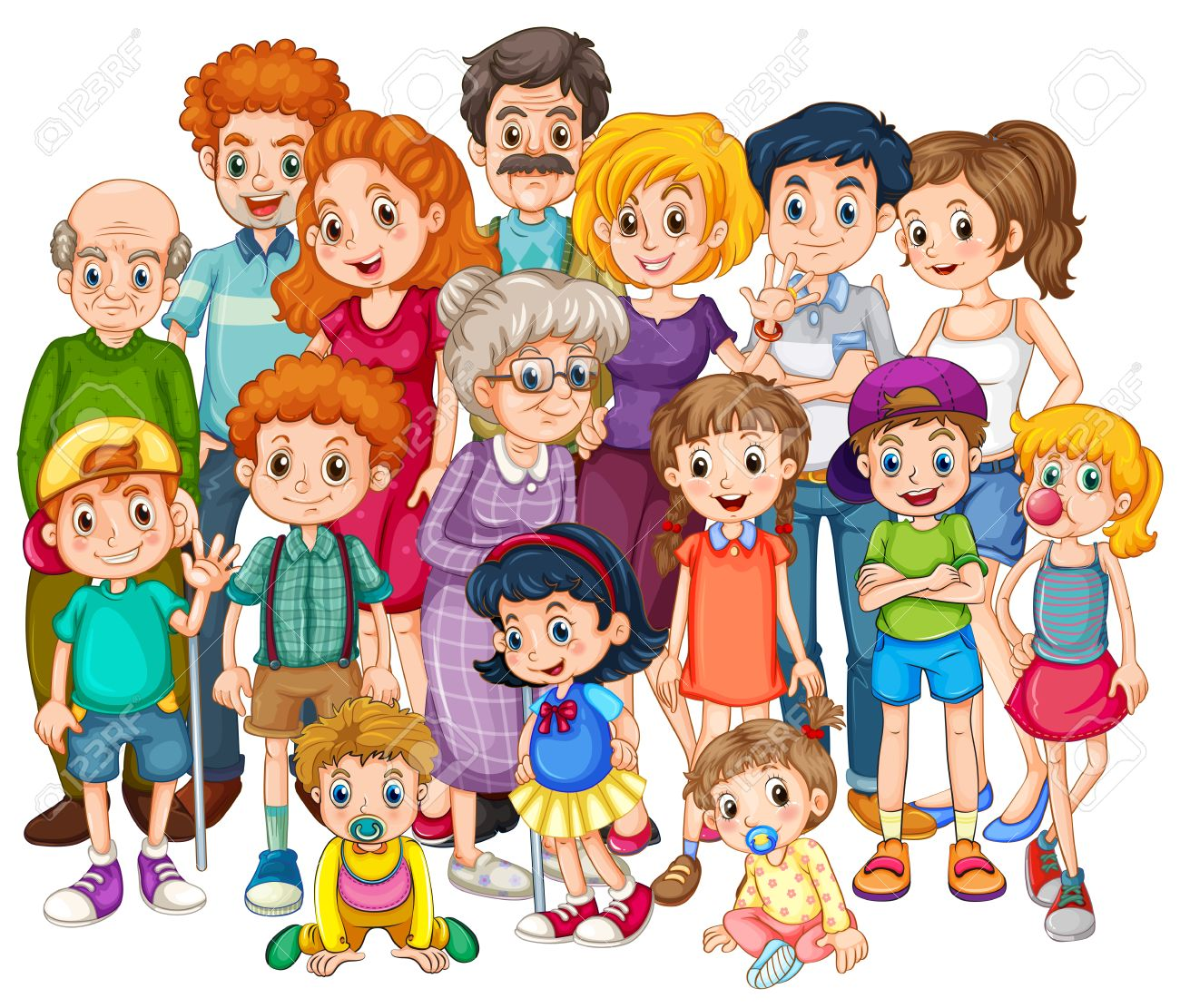 family members happy together in one shot royalty free cliparts rh 123rf com cartoon big family images cartoon family images download
