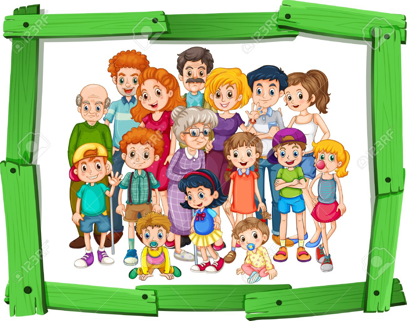 Family Members In Wooden Photo Frame Stock Vector