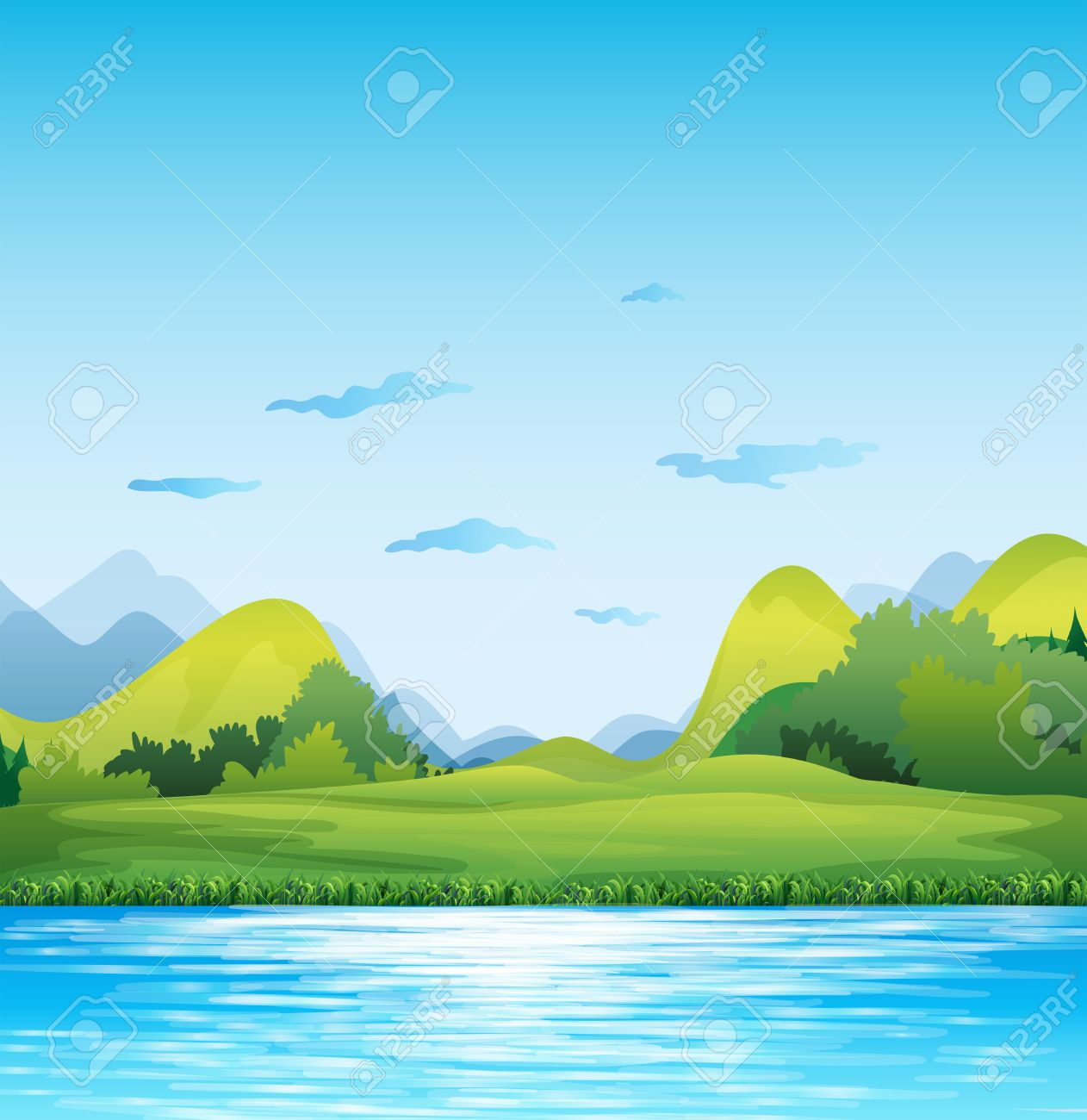 Scene of a green field by the river - 40068952