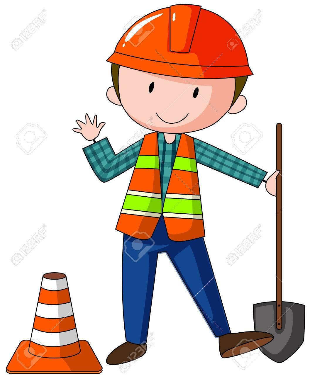 Bauarbeiter zeichnung  Nahaufnahme Bauarbeiter Mit Schaufel Lizenzfrei Nutzbare ...