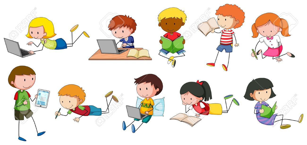 children reading and writing in different styles royalty free
