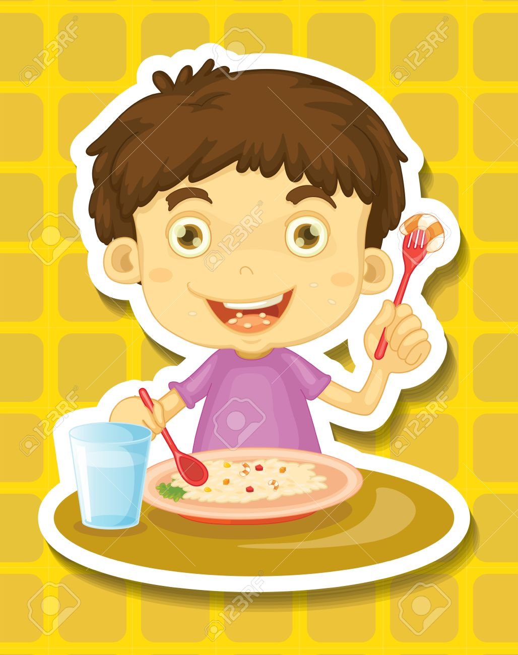 Larger preview vector clip art of a happy yellow coffee cup character - Eating Breakfast Happy Boy Eating Rice From A Plate