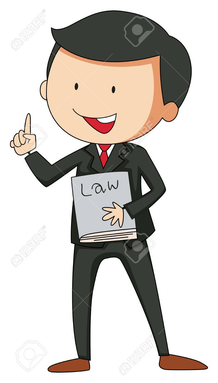 Lawyer In Suit Holding A Law Book Royalty Free Cliparts Vectors