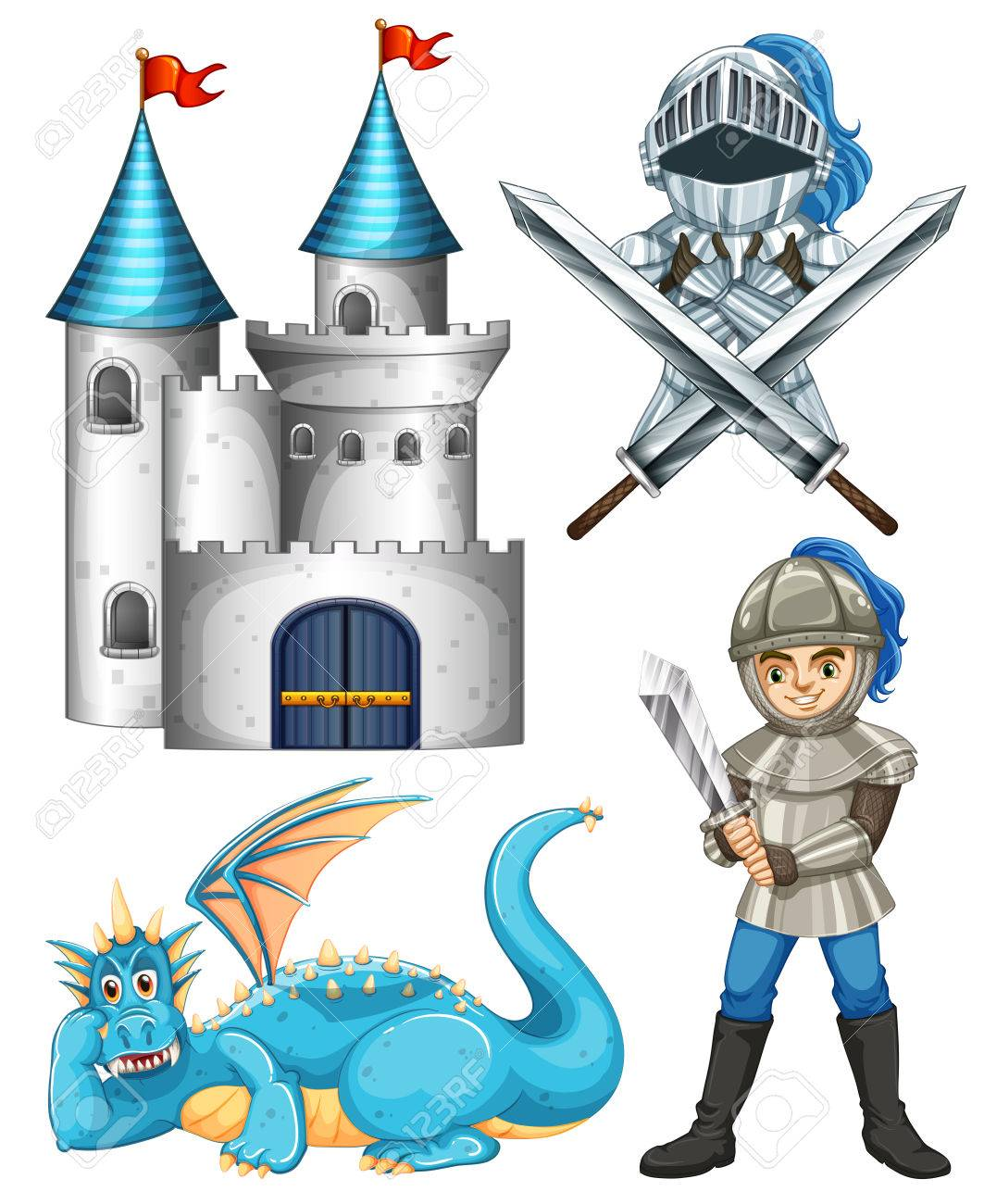 set of fairytales with knight and dragon royalty free cliparts rh 123rf com  clip art fairy tale characters