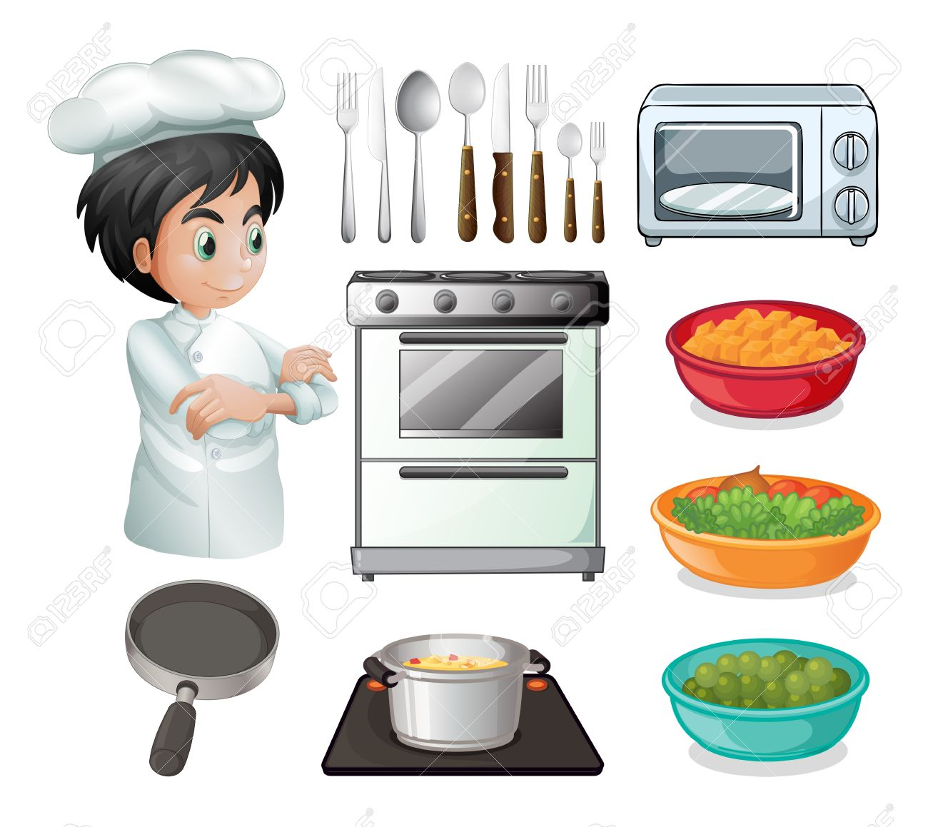 Set Of Chef With Other Kitchen Equipments Stock Vector   41727363