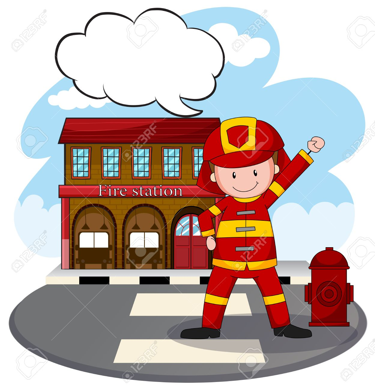 fire fighter standing in front of fire station royalty free cliparts rh 123rf com fire department clip art free fire station clipart