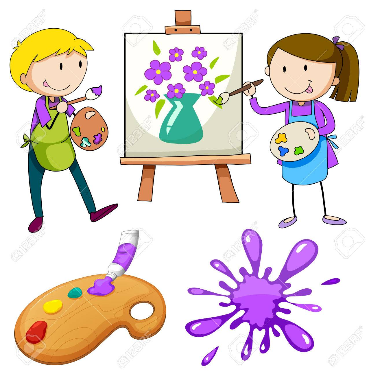 Man and woman painting a picture of flowers in a vase royalty free man and woman painting a picture of flowers in a vase stock vector 41789030 reviewsmspy