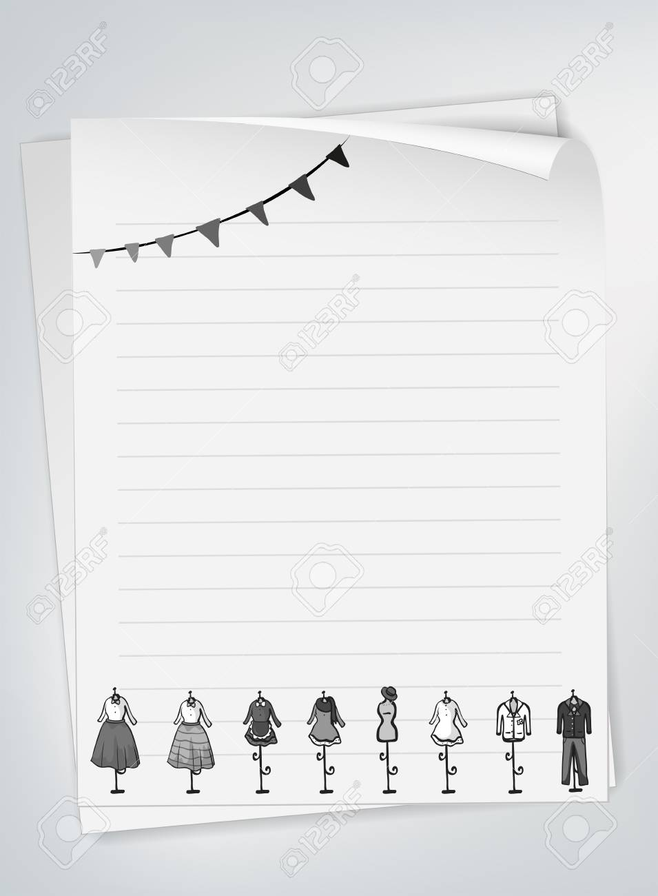 Blank Line Paper With Design Of Clothes Royalty Free Cliparts ...