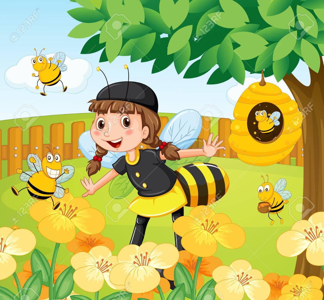 Chica En Traje De Abeja De Pie En Un Jardín Lleno De Abejas Y Flores ...