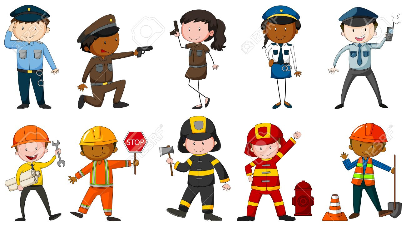 set of men and woman in different job costumes on white background rh 123rf com jobs clip art free jobs clip art