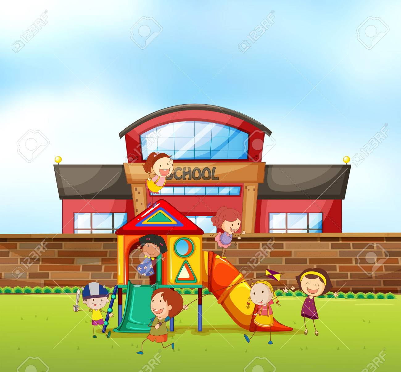 children playing at school playground illustration royalty free