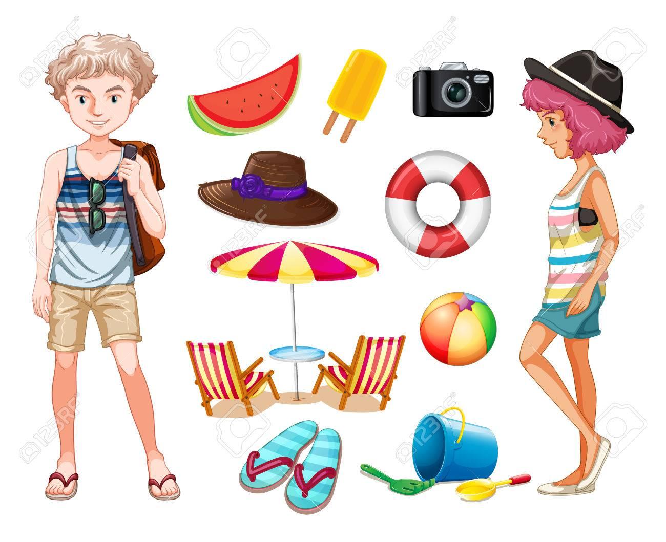 hipsters y objetos de playa ilustración ilustraciones vectoriales