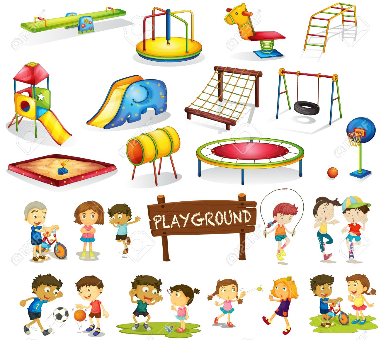 Playing garden drawing for kids - Playground Cartoon Children Playing And Playground Set Illustration