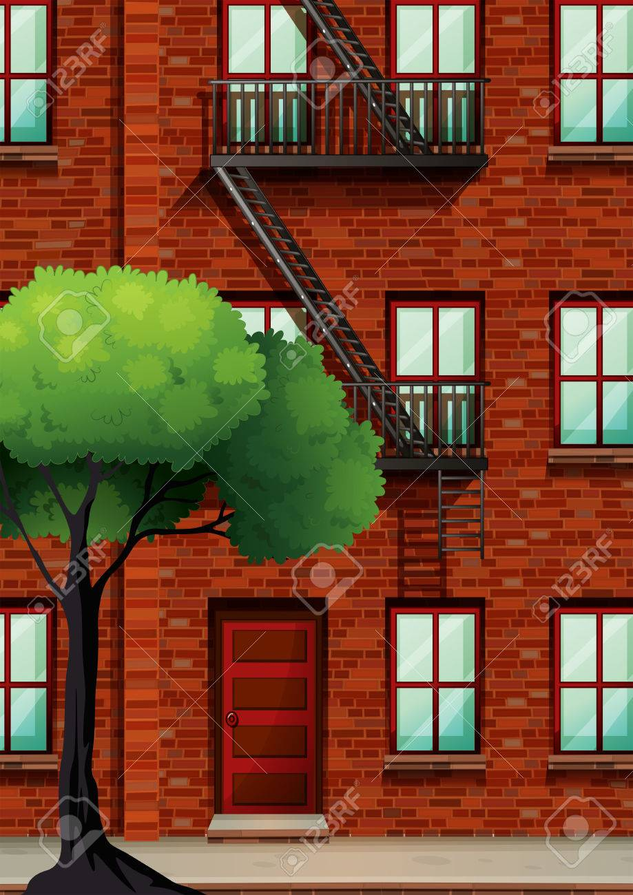 Fire Escape On The Apartment Building Illustration Royalty Free ...