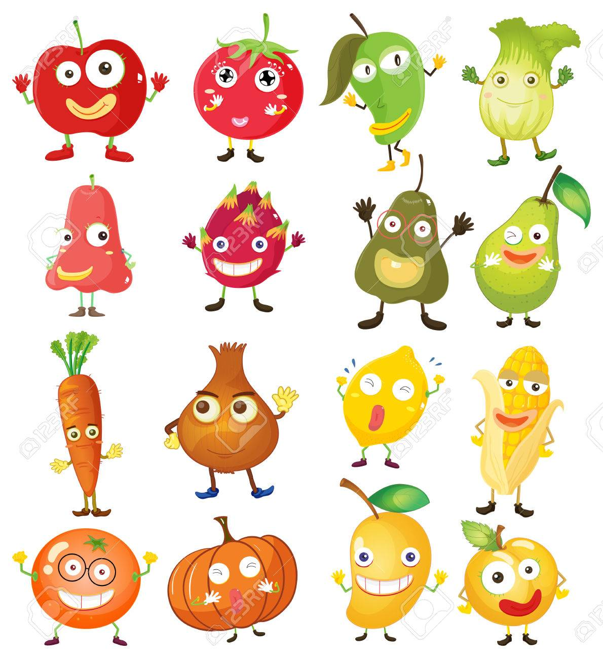 果物と野菜の顔イラストのイラスト素材ベクタ Image 44657096