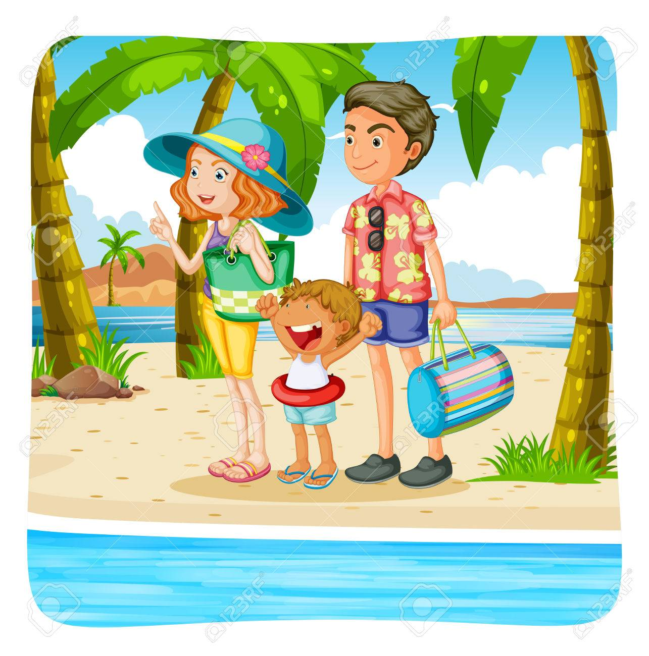 Family Taking Vacation On The Beach Illustration Stock Vector