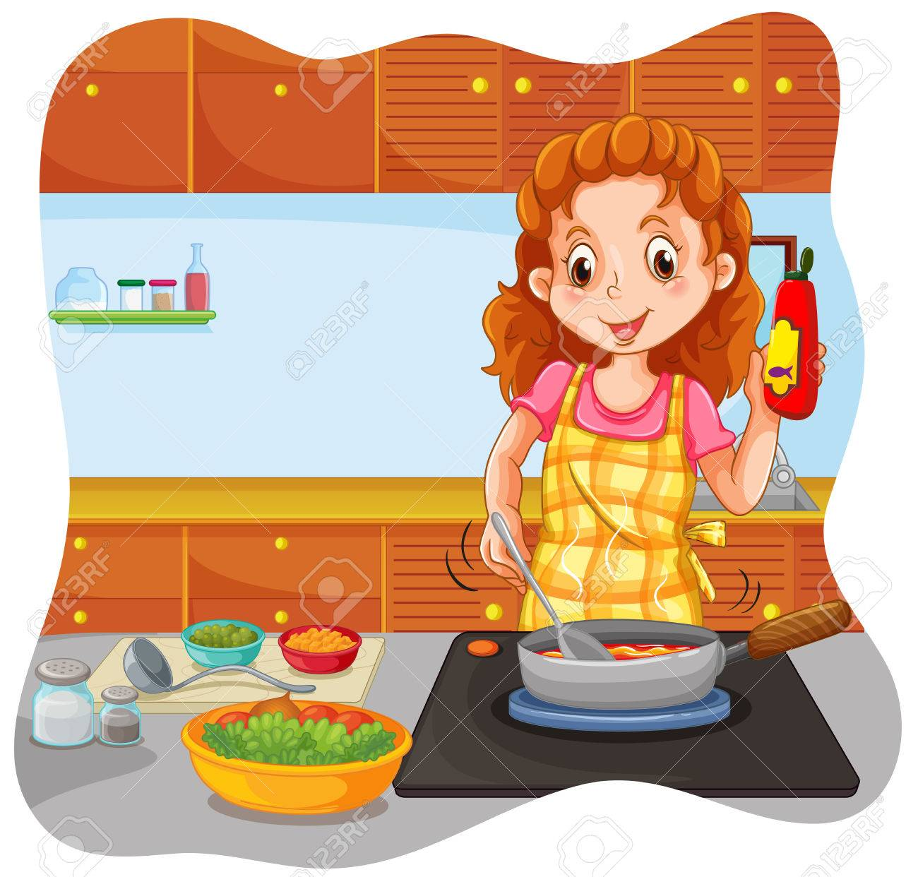 Selection of cartoons on cooking kitchens food and eating - Vector Woman Cooking In The Kitchen Illustration