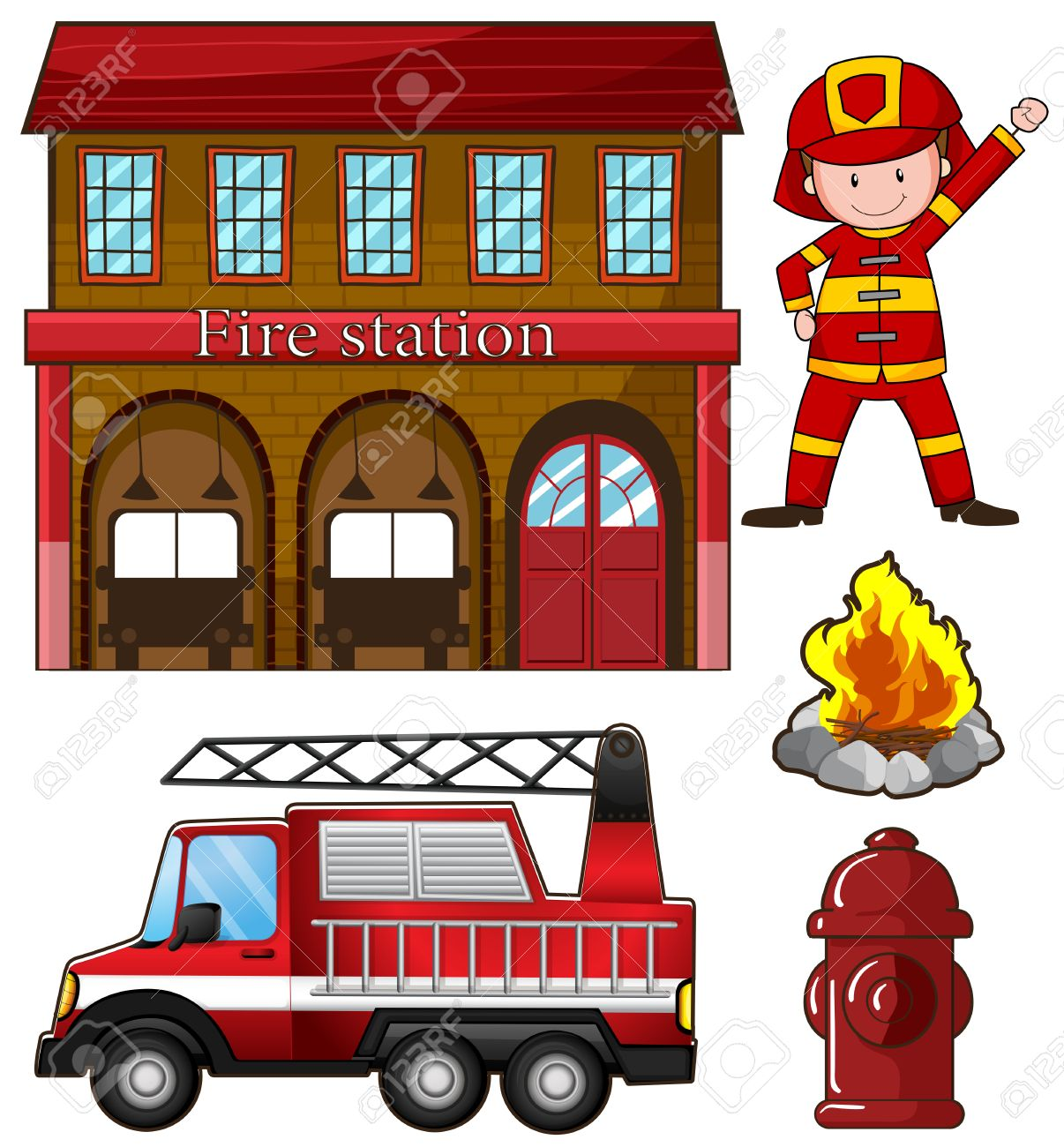 fireman and fire station illustration royalty free cliparts vectors rh 123rf com fire brigade clipart black and white fire station clipart png