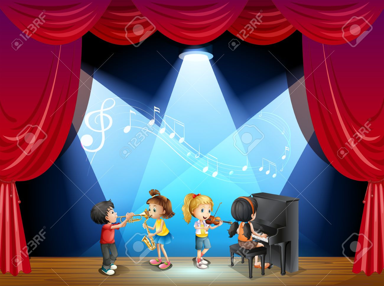Children playing musical instrument on stage illustration stock vector 44844140