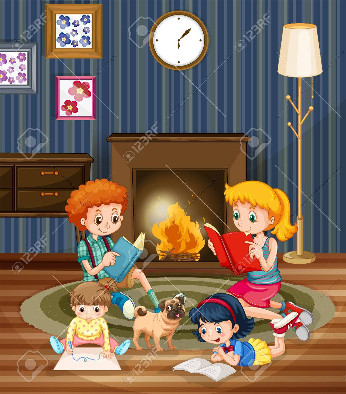 children reading books in the room illustration royalty free