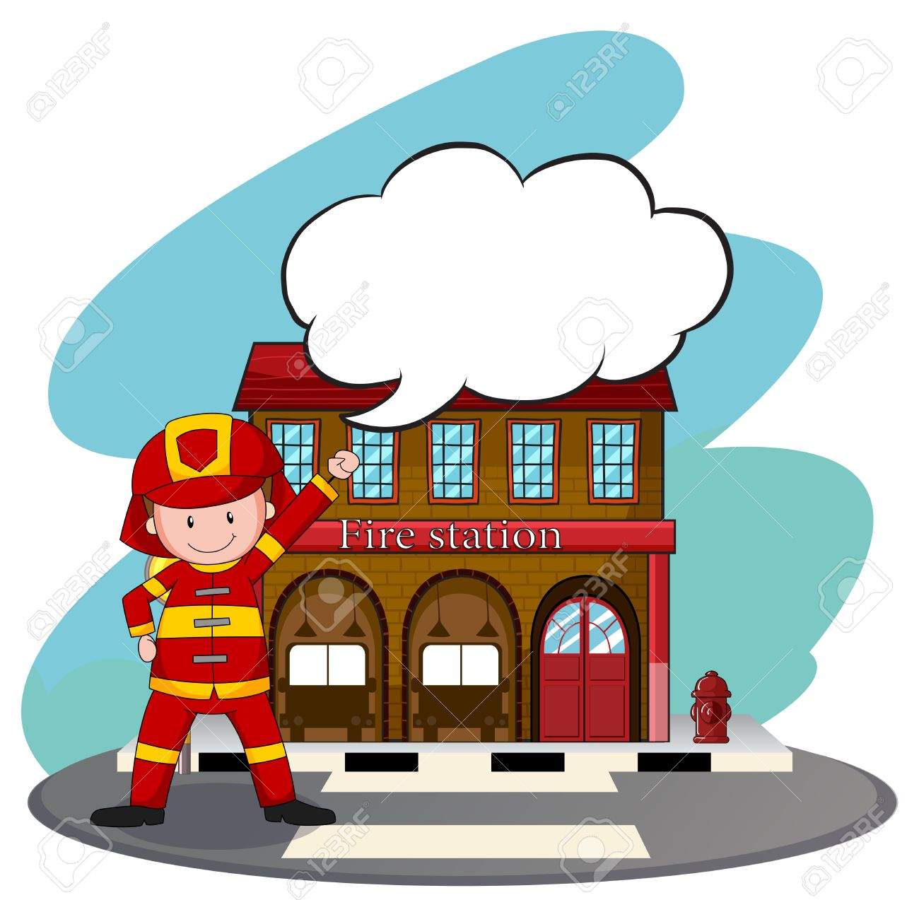 Firemen Working At The Fire Station Illustration Royalty Free ...