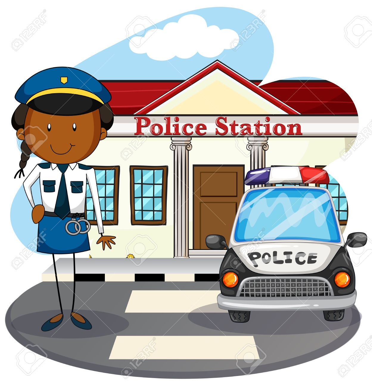 police officer working at police station illustration royalty free rh 123rf com police station pictures clip art police department clip art