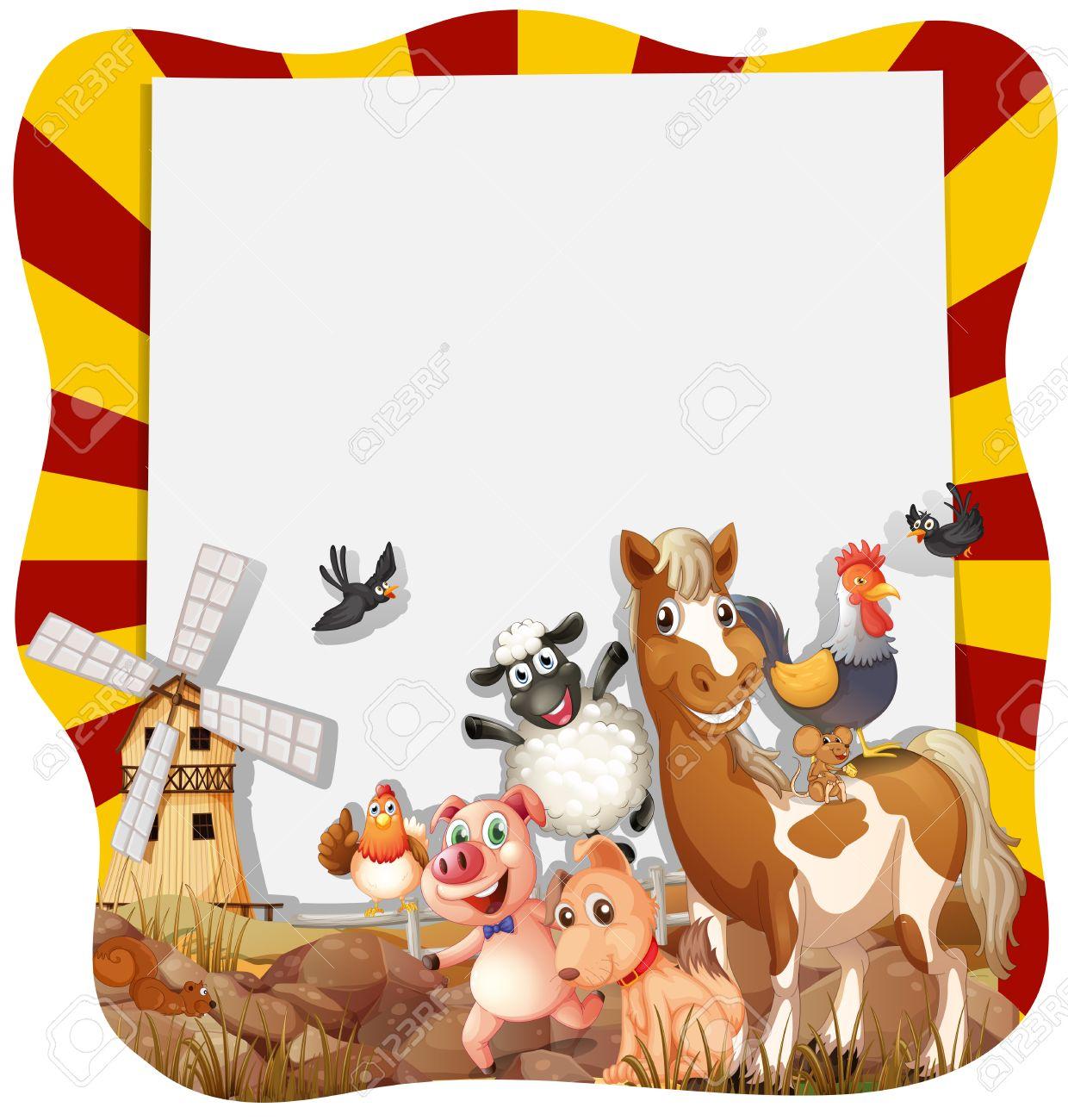 Los Animales De Granja En Todo El Marco De Ilustración Ilustraciones ...