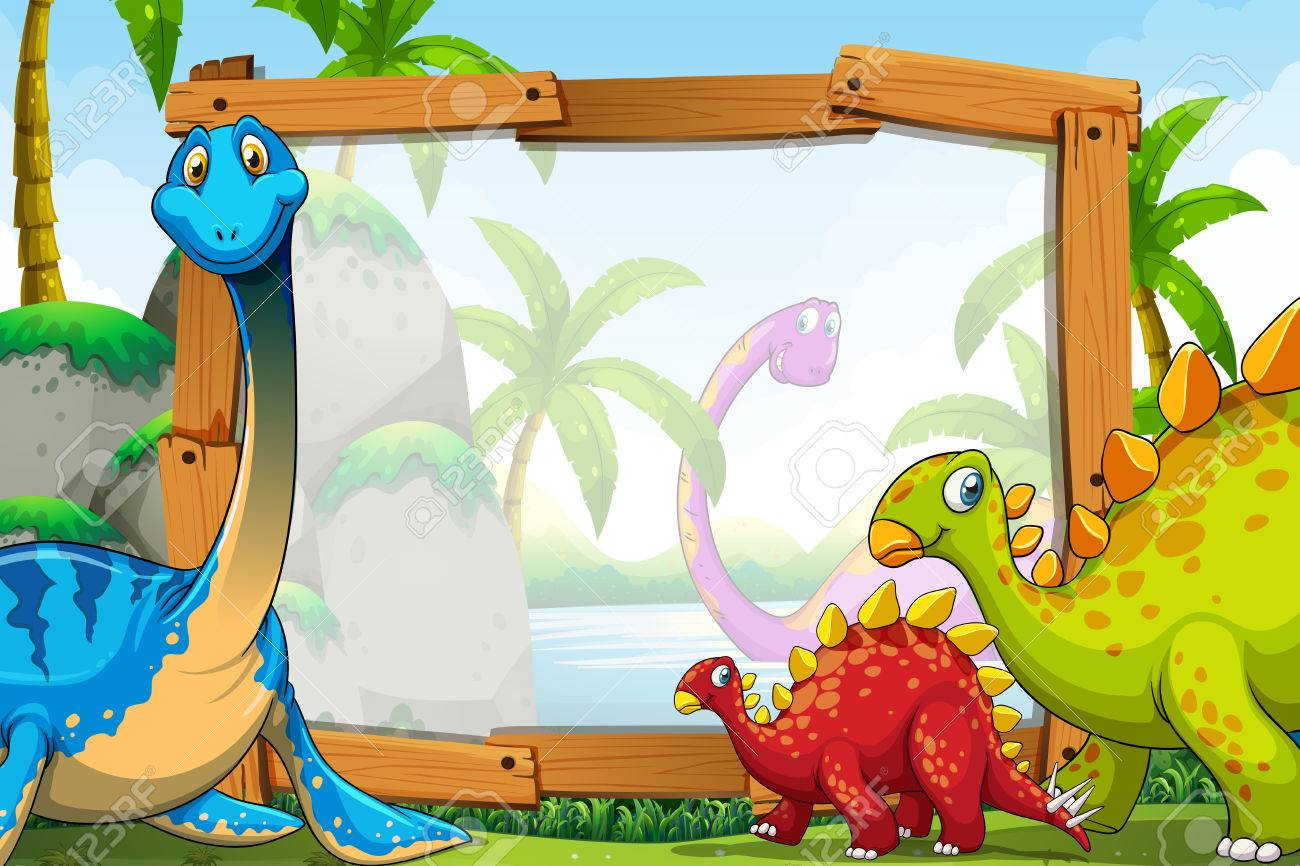 dinosaurs around the wooden frame illustration royalty free cliparts