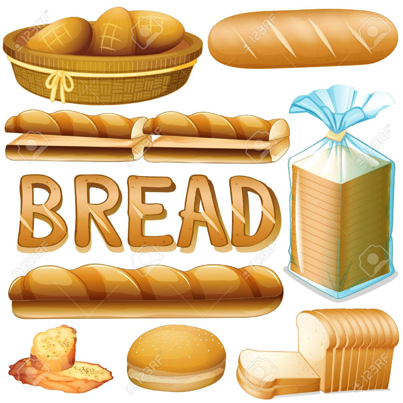 Bread in various kinds illustration - 45533389