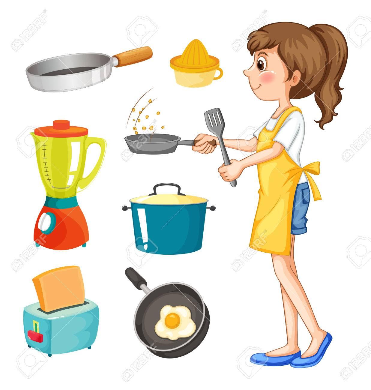Donna Che Cucina E Altri Oggetti Di Cucina Illustrazione Clipart ...