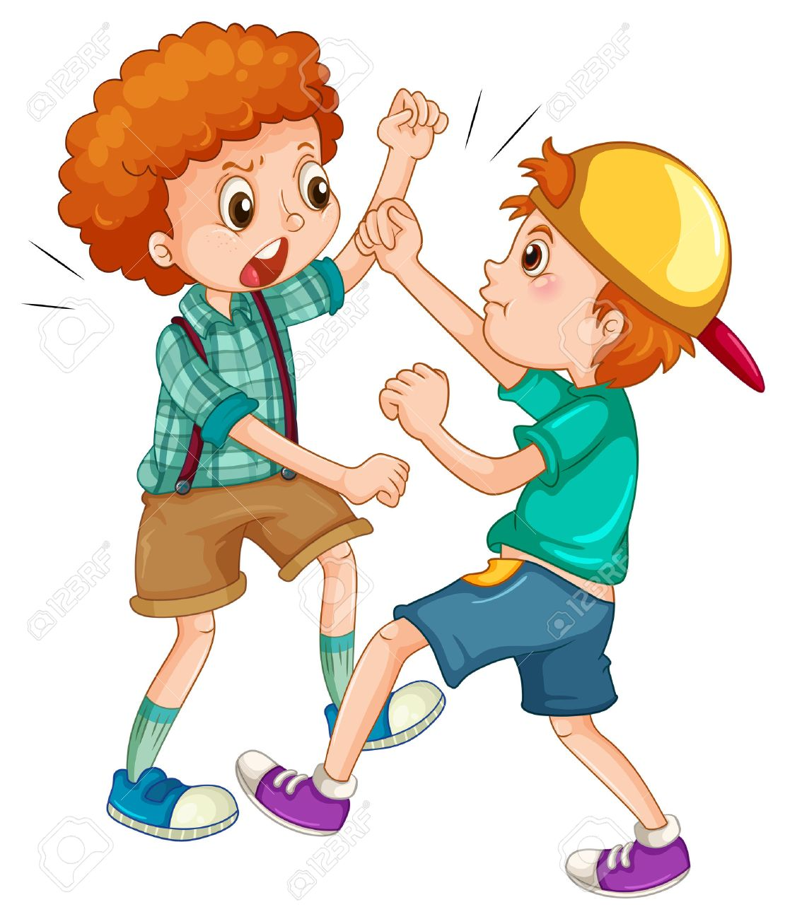 two boys fighting each other illustration royalty free cliparts