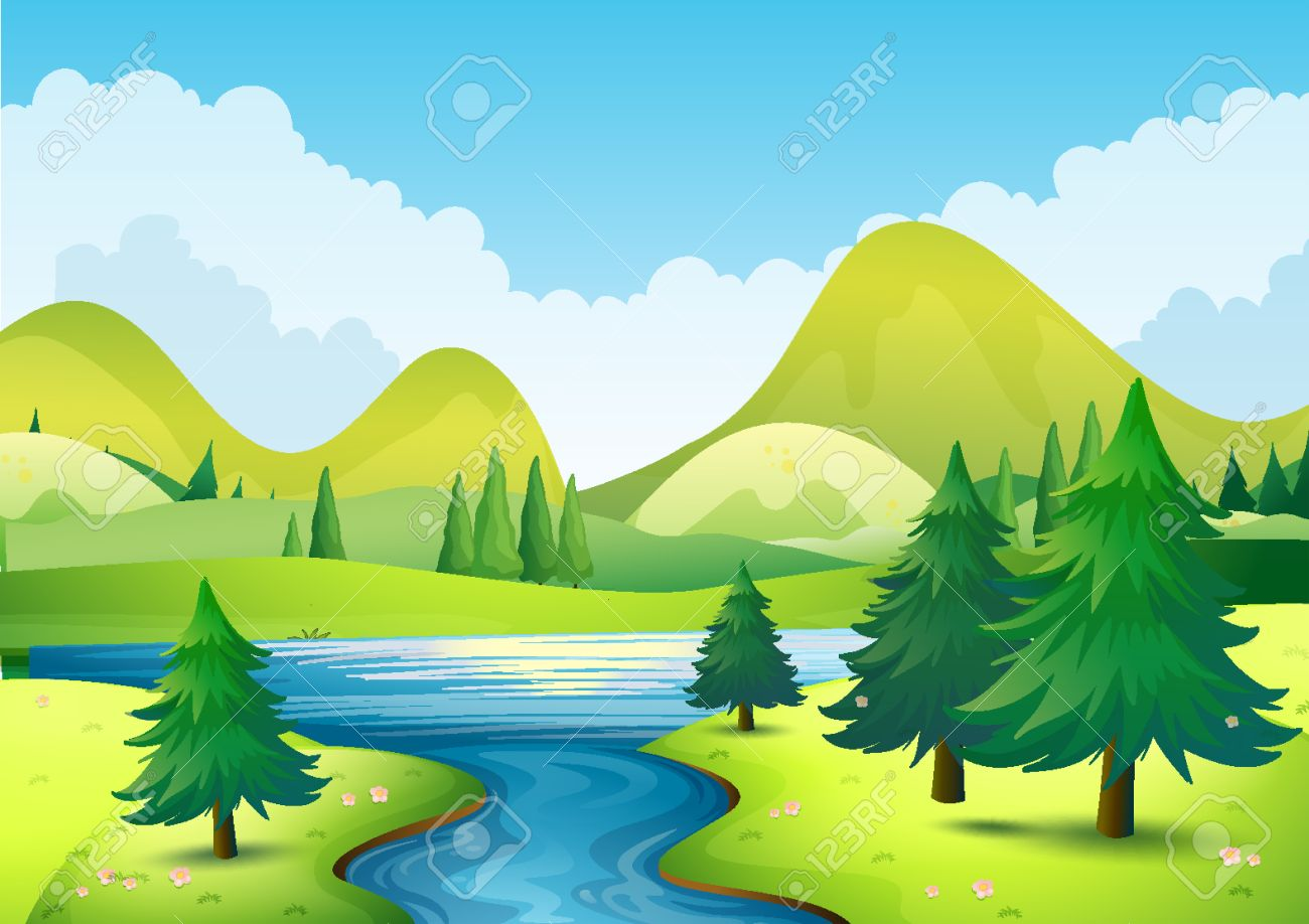 nature scene with river and hills illustration royalty free cliparts rh 123rf com river clipart images river clipart free