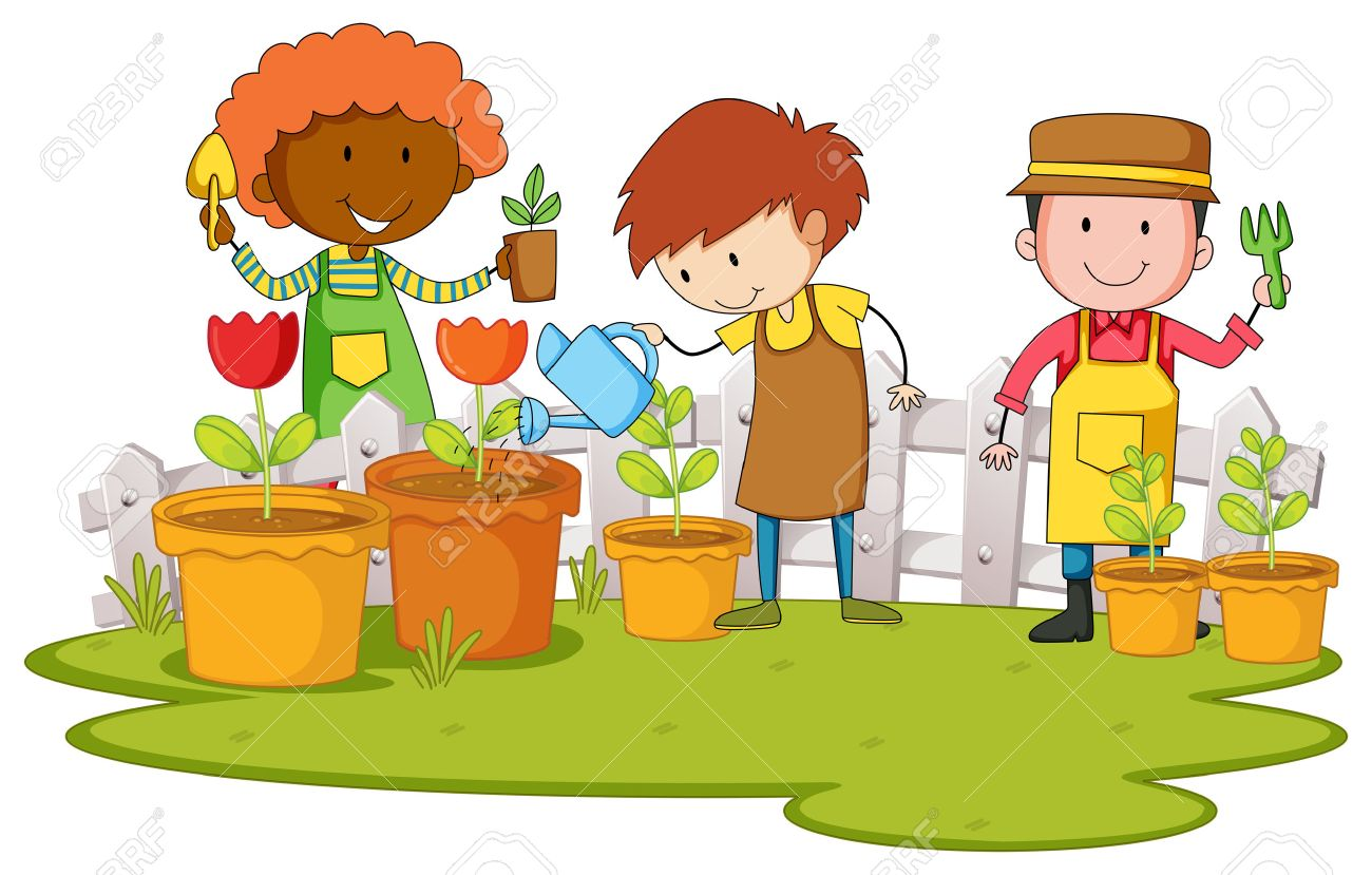 kids planting clipart. gardeners planting tree and flower in garden illustration stock vector 46524480 kids clipart y