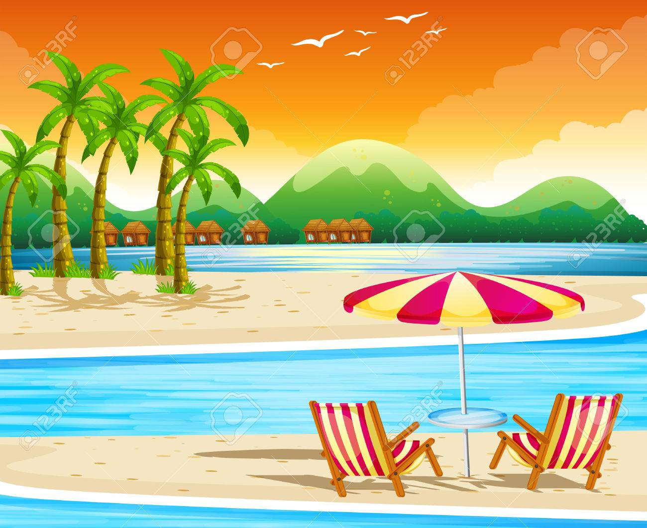 Beach Scene With Chairs And Umbrella Illustration Royalty Free