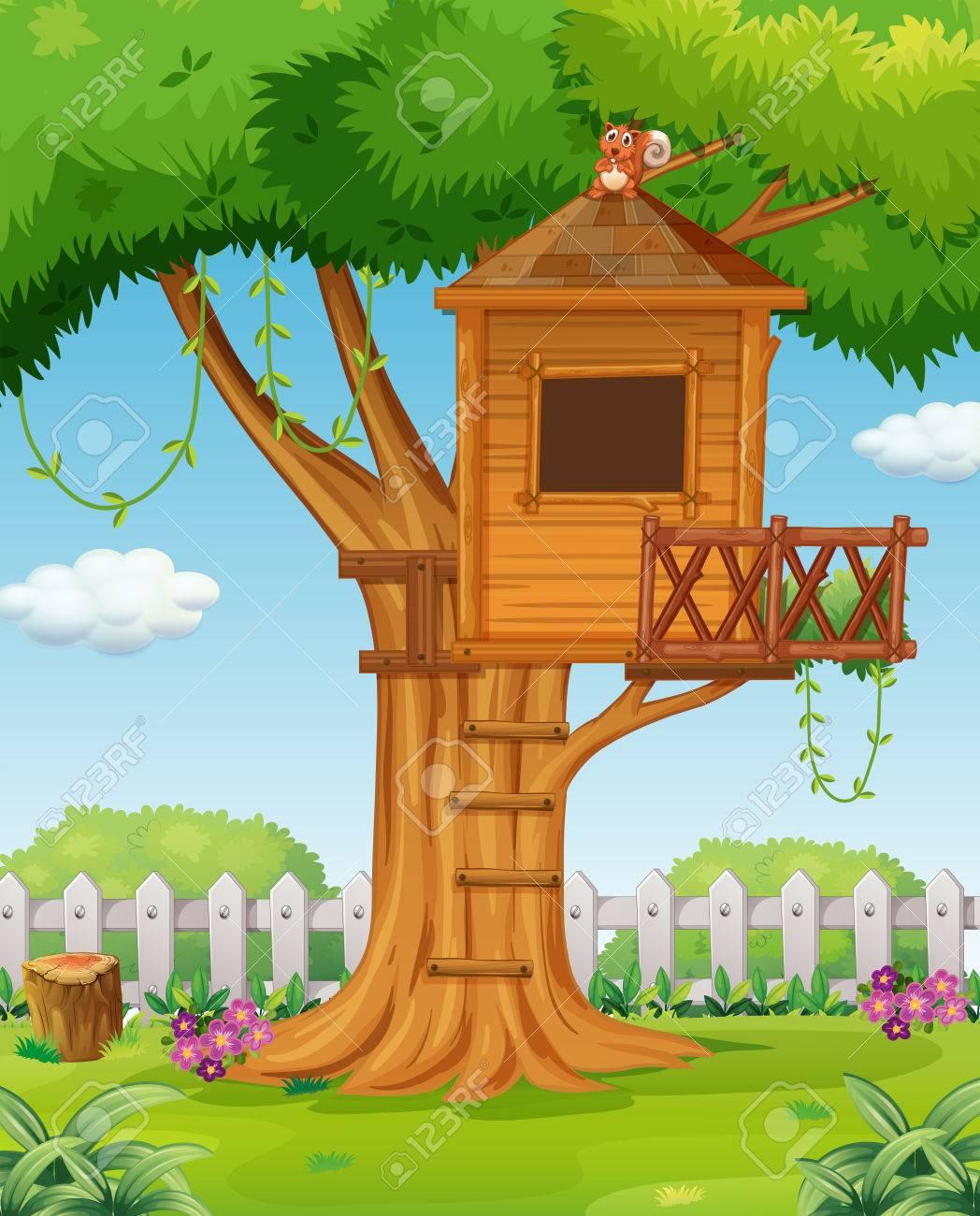 Treehouse in the garden illustration