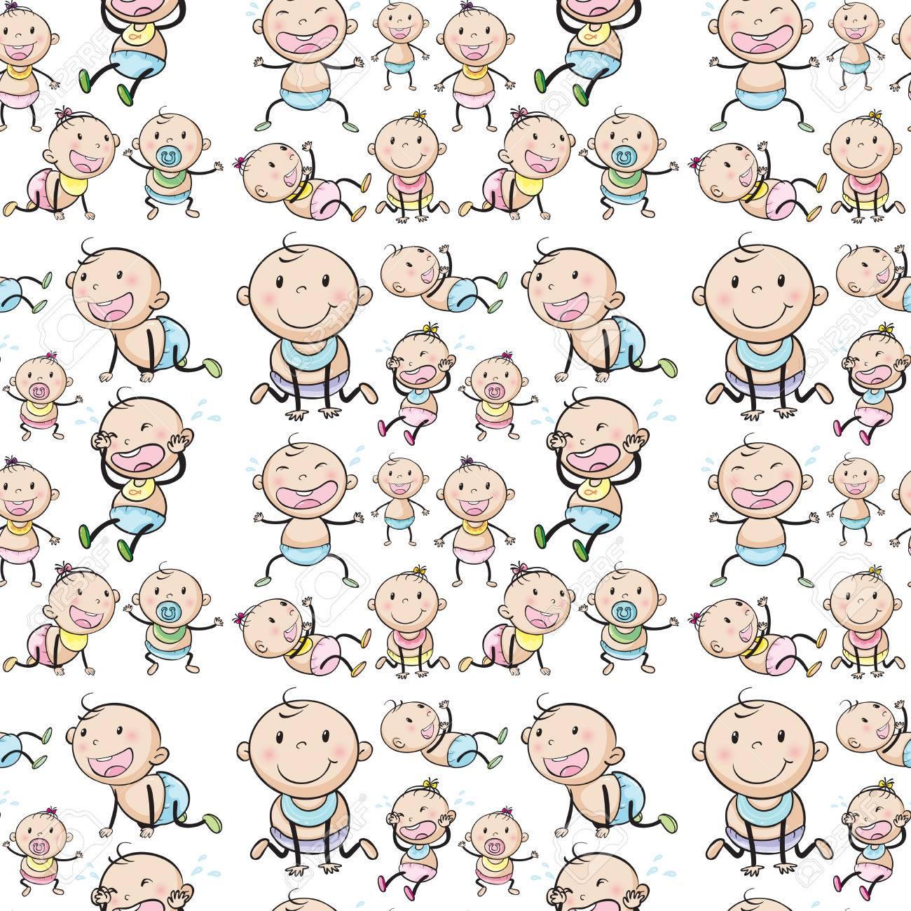 Bebés Sin Costura En Diferentes Posiciones De La Ilustración ...